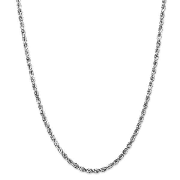 14k White Gold 4mm Link Rope Chain Necklace 22 Inch Pendant Charm Handmade Fine Jewelry Gifts For Women For Her