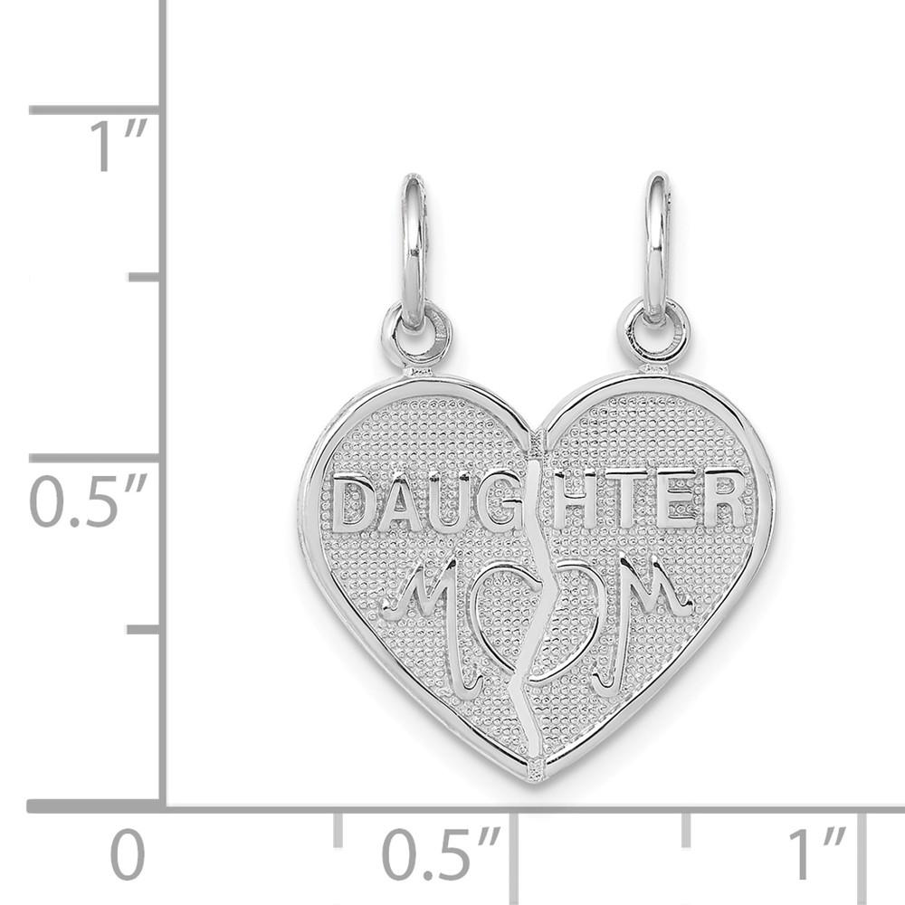14k White Gold Daughter/mom 2 Piece Heart Pendant Charm Necklace Special Person Break Apart Fine Jewelry Gifts For Women For Her Pendant Necklaces IceCarats.com Designer Jewelry Gift USA