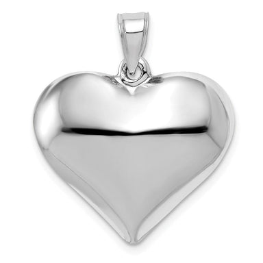 14k White Gold Heart Pendant Charm Necklace Love Puffed Fine Jewelry Gifts For Women For Her Pendant Necklaces IceCarats.com Designer Jewelry Gift USA
