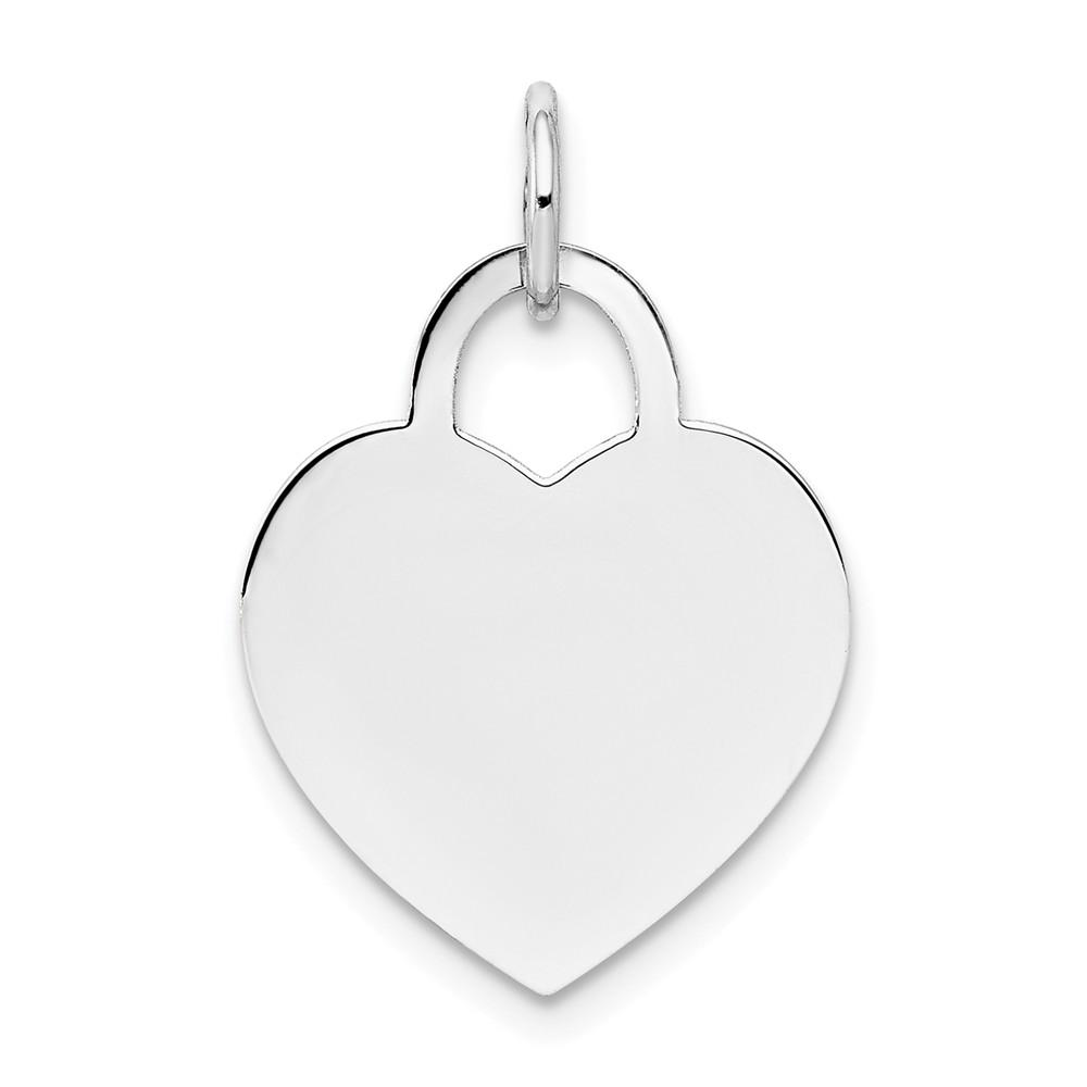 14k White Gold Medium Engravable Heart Necklace Pendant Charm Disc Designer Shaped Love Fine Jewelry Gifts For Women For Her Pendant Necklaces IceCarats.com Designer Jewelry Gift USA
