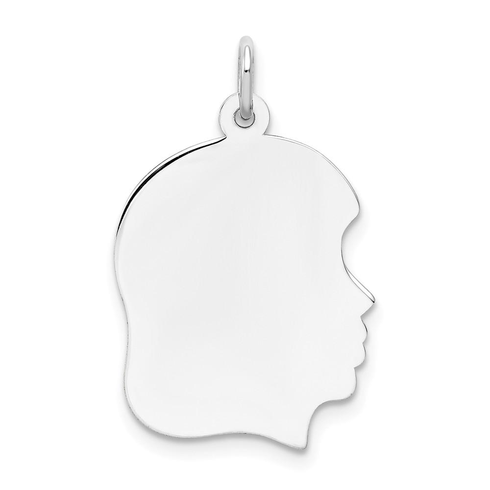 14k White Gold Medium Facing Right Engravable Girl Pendant Charm Necklace Disc Boy Head Fine Jewelry Gifts For Women For Her Pendant Necklaces IceCarats.com Designer Jewelry Gift USA
