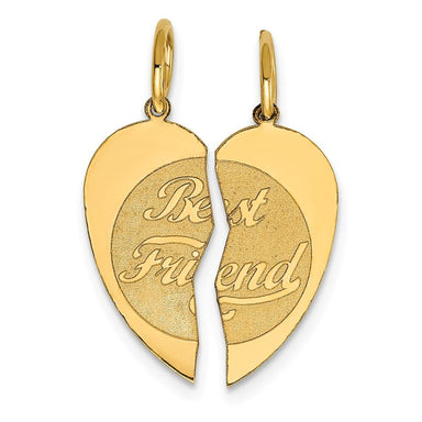 14k Yellow Gold 2pc Best Friends Bestfriend Friendship Pendant Charm Necklace Special Person Fine Jewelry Gifts For Women For Her Pendant Necklaces IceCarats.com Designer Jewelry Gift USA