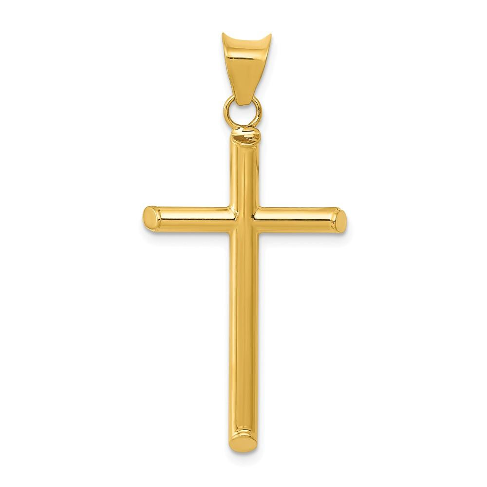 14k Yellow Gold 3 D Cross Religious Pendant Charm Necklace Latin Fine Jewelry Gifts For Women For Her Pendant Necklaces IceCarats.com Designer Jewelry Gift USA