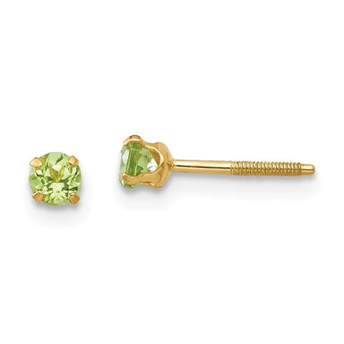 14k Yellow Gold 3mm Green Peridot Earrings Birthstone August Stud Gemstone Fine Jewelry Gifts For Women For Her Earrings IceCarats.com Designer Jewelry Gift USA