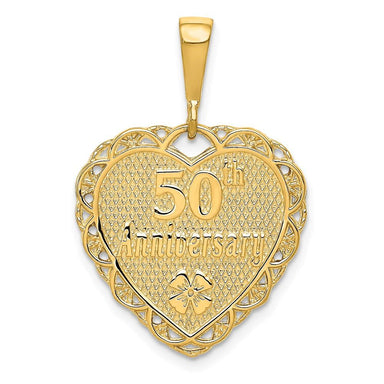 14k Yellow Gold 50th Anniversary Pendant Charm Necklace Special Day Fine Jewelry Gifts For Women For Her Pendant Necklaces IceCarats.com Designer Jewelry Gift USA