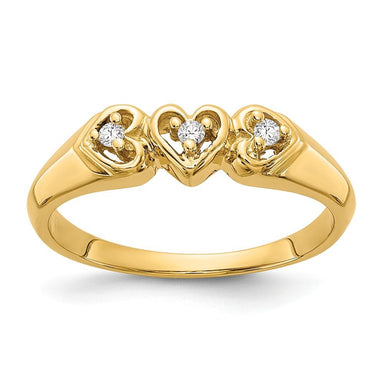 14k Yellow Gold Diamond Heart Band Ring S/love Fine Jewelry Gifts For Women For Her Wedding Bands IceCarats.com Designer Jewelry Gift USA