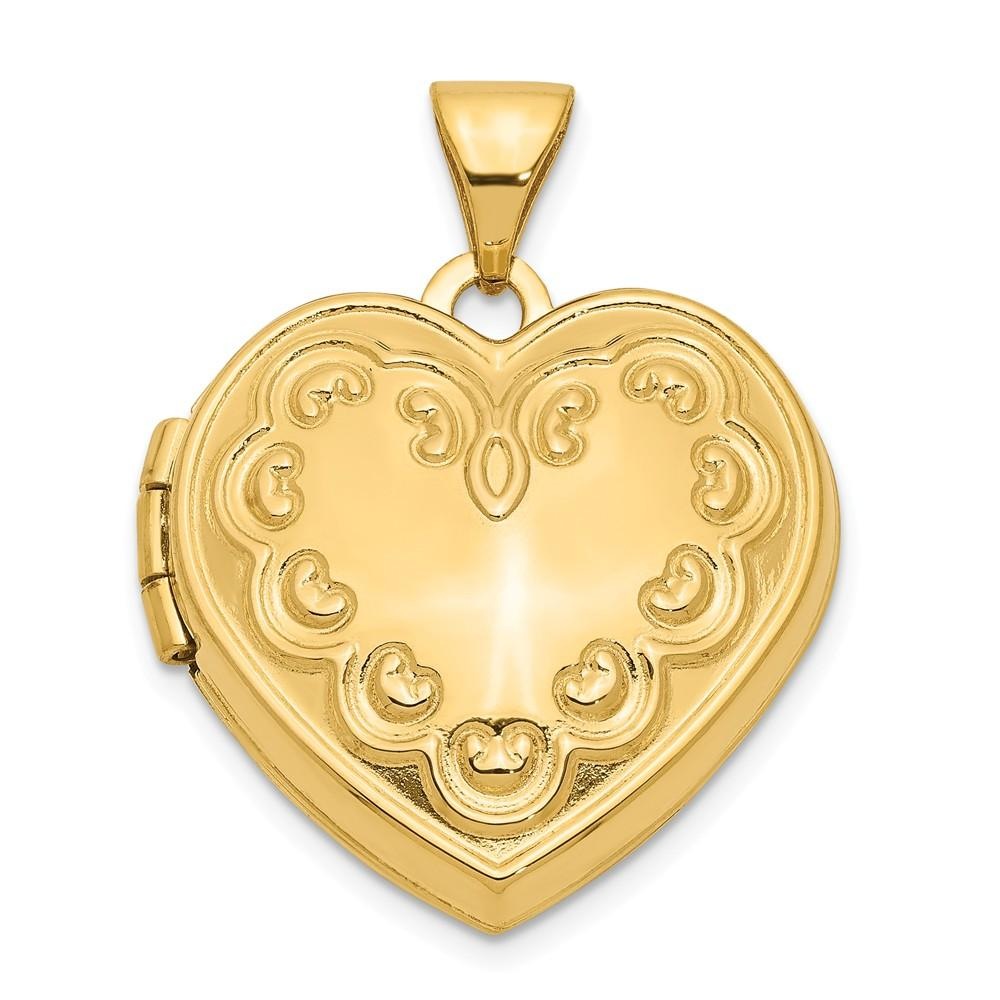 14k Yellow Gold Domed Heart Photo Pendant Charm Locket Chain Necklace That Holds Pictures Fine Jewelry Gifts For Women For Her Locket Necklaces IceCarats.com Designer Jewelry Gift USA