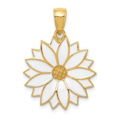14k Yellow Gold Enameled White Daisy Flower Pendant Charm Necklace Gardening Fine Jewelry Gifts For Women For Her Pendant Necklaces IceCarats.com Designer Jewelry Gift USA