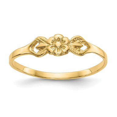 14k Yellow Gold Flower Baby Band Ring Fine Jewelry Gifts For Women For Her Wedding Bands IceCarats.com Designer Jewelry Gift USA