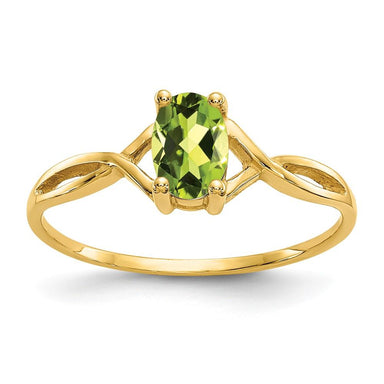 14k Yellow Gold Green Peridot Birthstone Band Ring Stone August Oval Fine Jewelry Gifts For Women For Her Wedding Bands IceCarats.com Designer Jewelry Gift USA