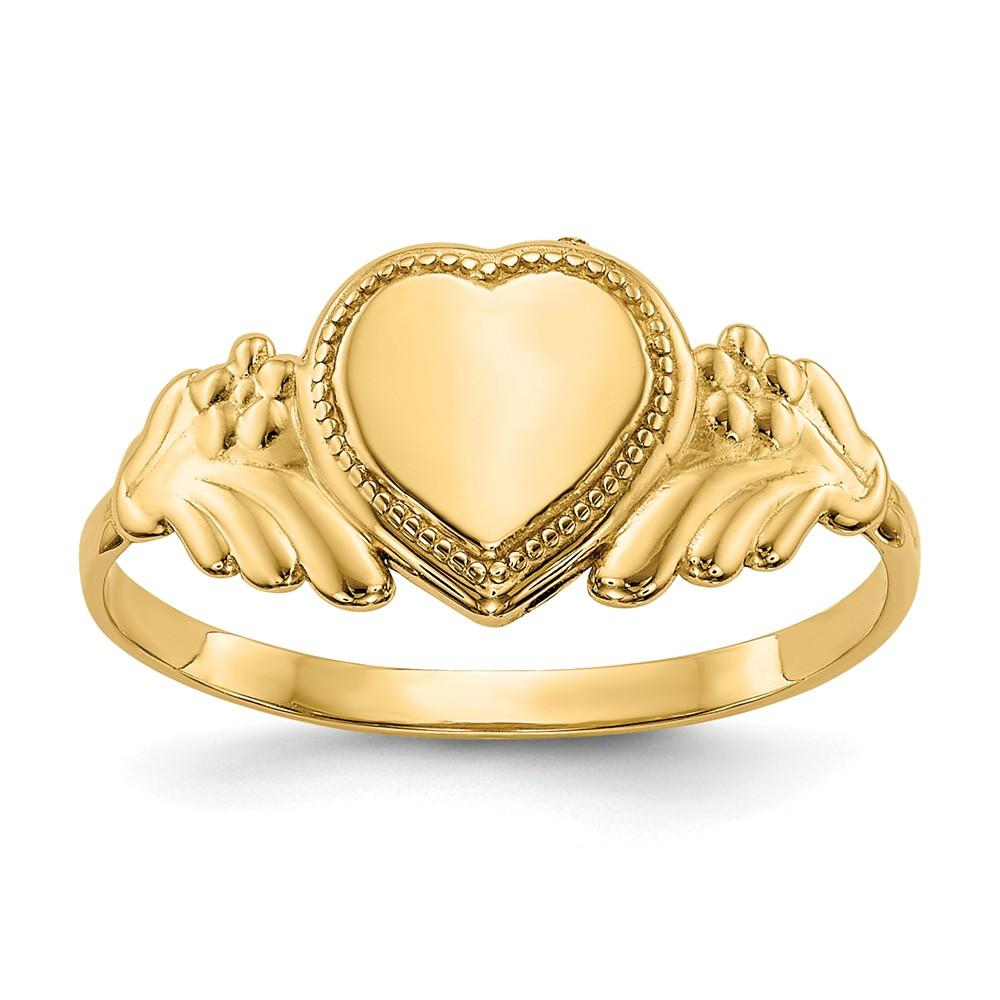 14k Yellow Gold Heart Baby Band Ring Fine Jewelry Gifts For Women For Her Wedding Bands IceCarats.com Designer Jewelry Gift USA