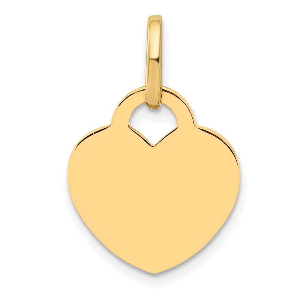 14k Yellow Gold Heart Pendant Charm Necklace Love Disc Fine Jewelry Gifts For Women For Her Pendant Necklaces IceCarats.com Designer Jewelry Gift USA