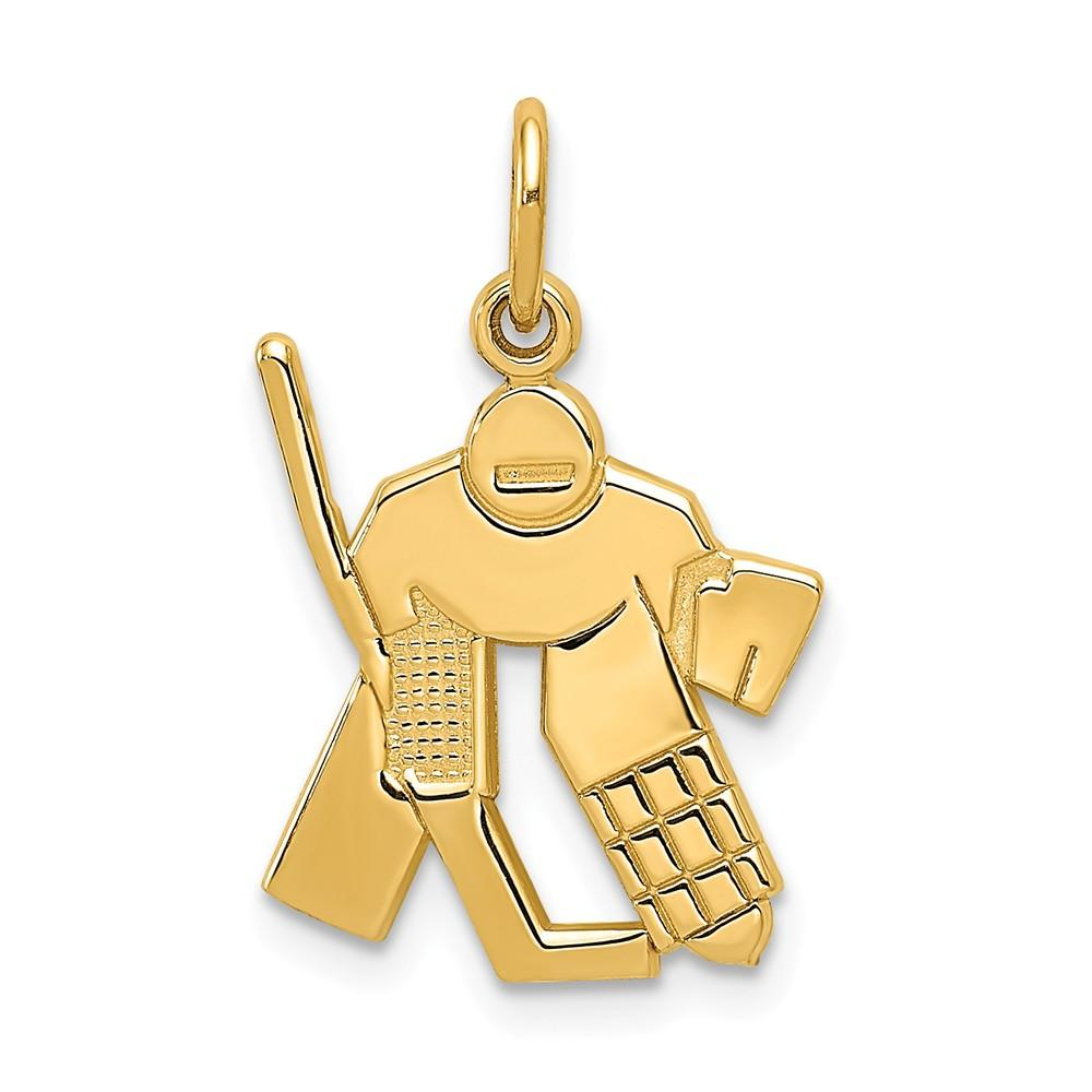 14k Yellow Gold Hockey Goalie Pendant Charm Necklace Sport Man Fine Jewelry Gift For Dad Mens For Him Pendant Necklaces IceCarats.com Designer Jewelry Gift USA