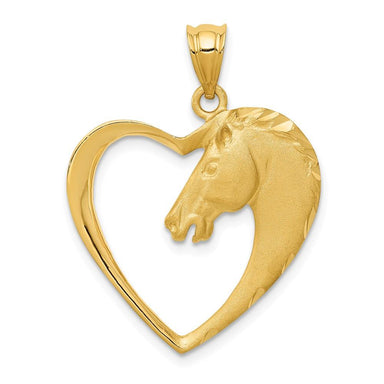 14k Yellow Gold Horse Pendant Charm Necklace Animal Fine Jewelry Gifts For Women For Her Pendant Necklaces IceCarats.com Designer Jewelry Gift USA