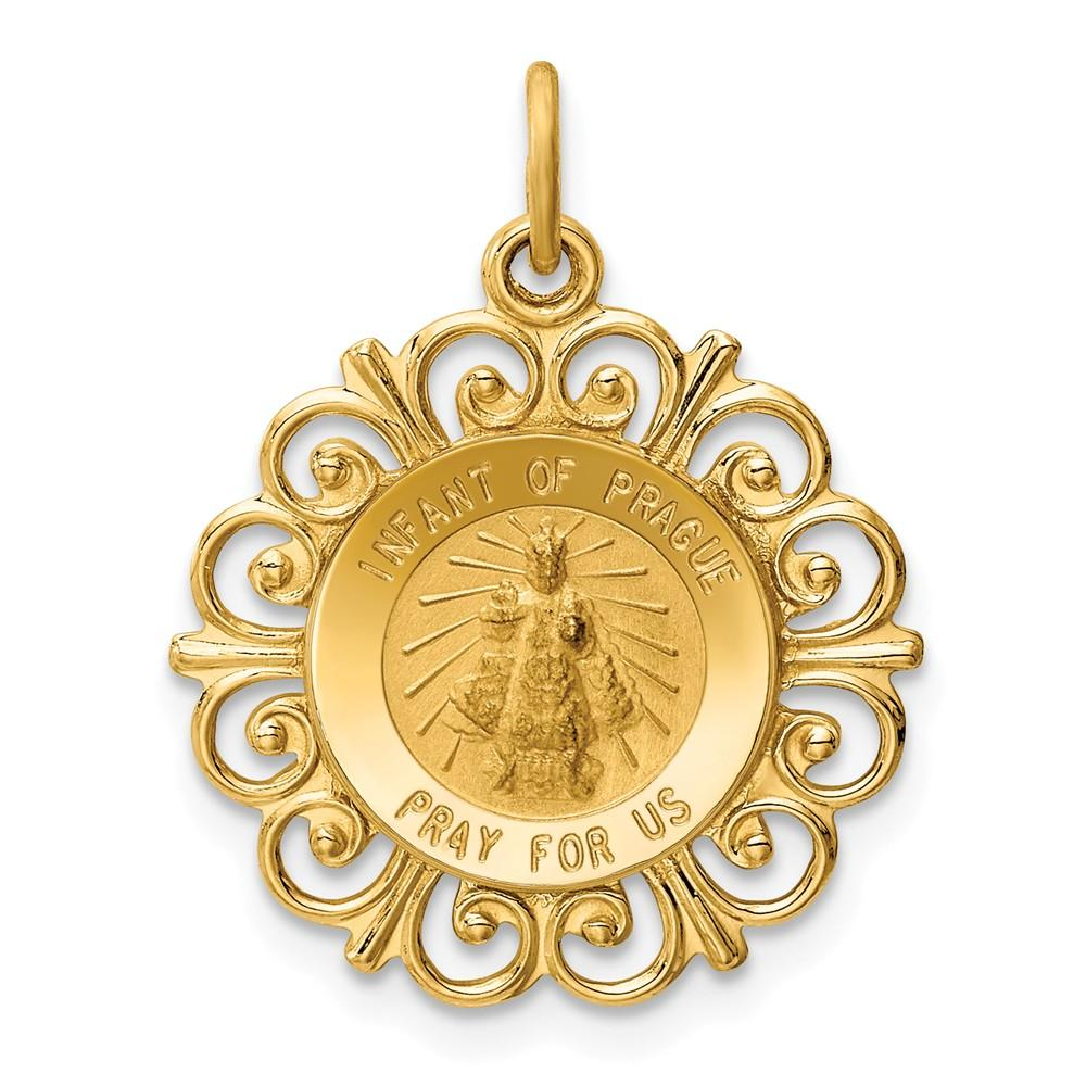 14k Yellow Gold Infant Of Prague Medal Pendant Charm Necklace Religious Fine Jewelry Gifts For Women For Her Pendant Necklaces IceCarats.com Designer Jewelry Gift USA