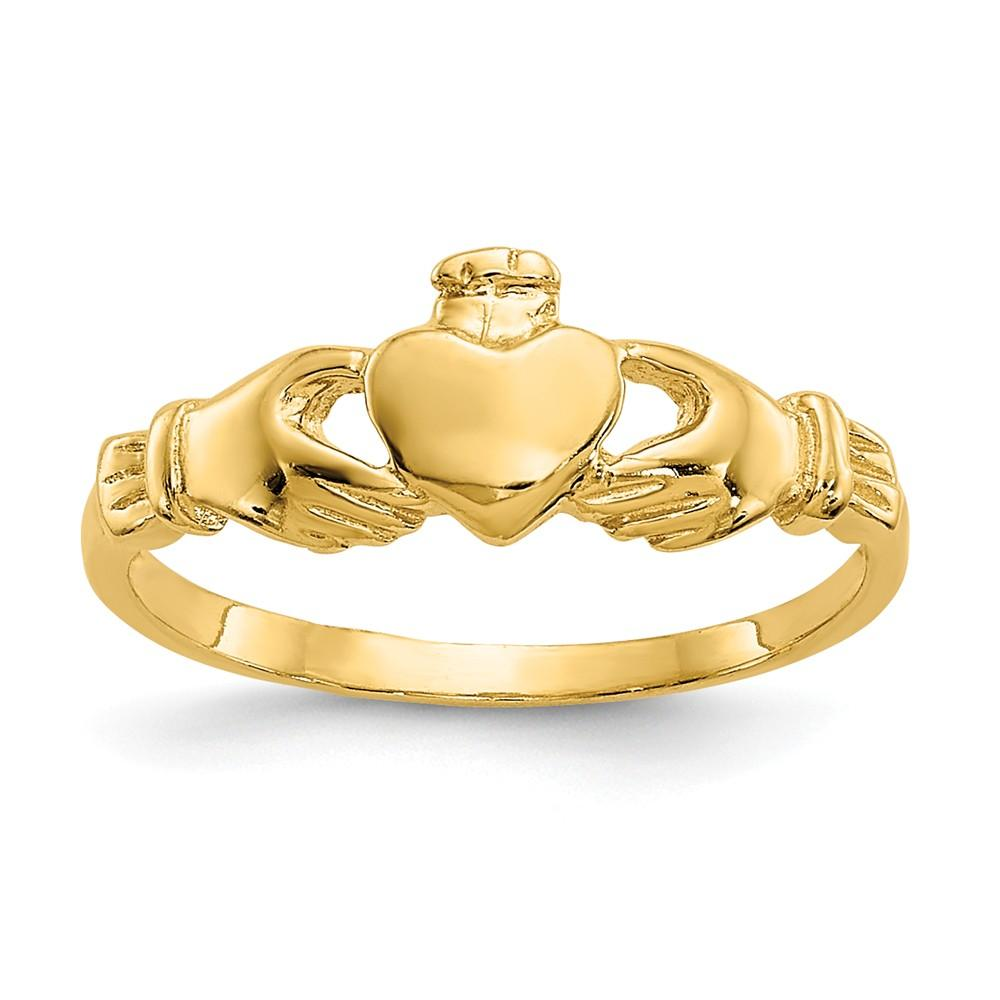 14k Yellow Gold Irish Claddagh Celtic Knot Baby Band Ring Fine Jewelry Gifts For Women For Her Wedding Bands IceCarats.com Designer Jewelry Gift USA