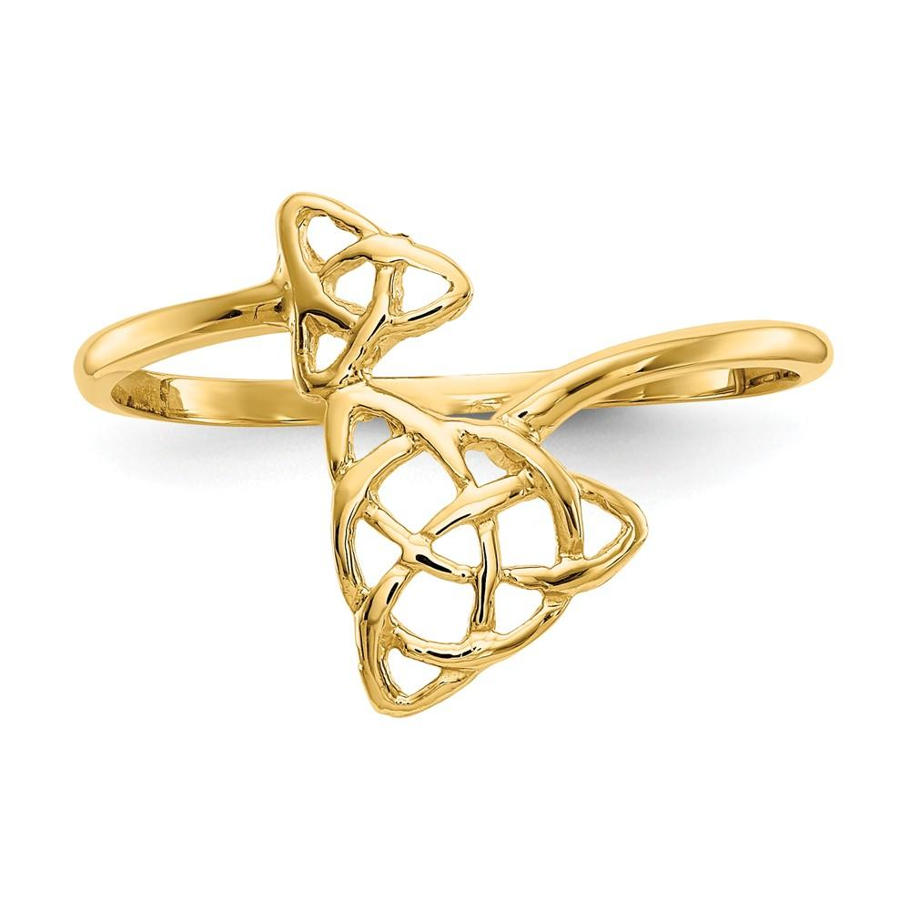 14k Yellow Gold Irish Claddagh Celtic Knot Band Ring Fine Jewelry Gifts For Women For Her Wedding Bands IceCarats.com Designer Jewelry Gift USA