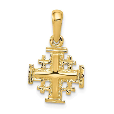 14k Yellow Gold Jerusalem Cross Religious Pendant Charm Necklace Jerum Fine Jewelry Gifts For Women For Her Pendant Necklaces IceCarats.com Designer Jewelry Gift USA