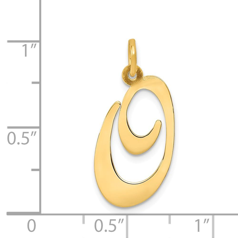 14k Yellow Gold Large Script Initial Monogram Name Letter O Pendant Charm Necklace Fine Jewelry Gifts For Women For Her Pendant Necklaces IceCarats.com Designer Jewelry Gift USA