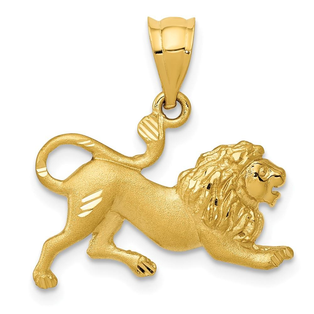 14k Yellow Gold Lion Pendant Charm Necklace Animal Tiger Man Fine Jewelry Gift For Dad Mens For Him Pendant Necklaces IceCarats.com Designer Jewelry Gift USA