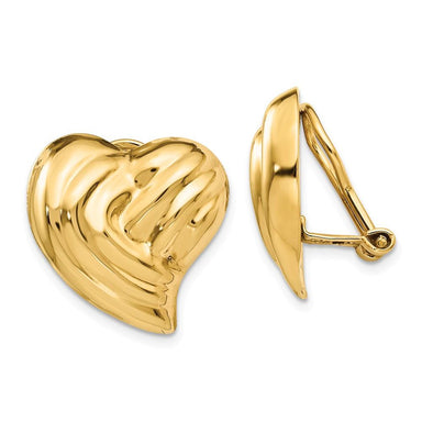 14k Yellow Gold Non Pierced Clip On Heart Earrings Love Fine Jewelry Gifts For Women For Her Clip On Earrings IceCarats.com Designer Jewelry Gift USA
