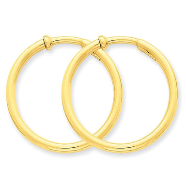 14k Yellow Gold Non Pierced Clip On Hoops Hoop Earrings Ear Set Fine Jewelry Gifts For Women For Her Clip On Earrings IceCarats.com Designer Jewelry Gift USA