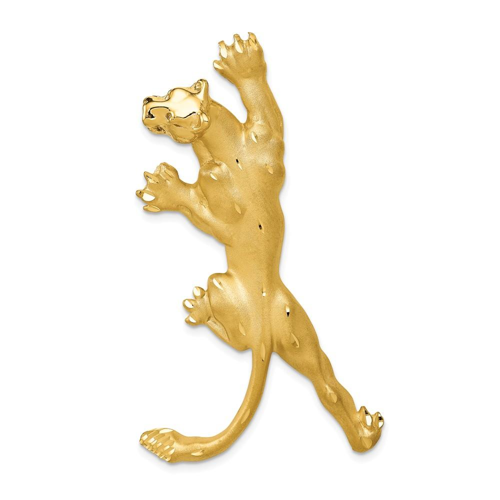 14k Yellow Gold Panther Pendant Charm Necklace Animal Man Fine Jewelry Gift For Dad Mens For Him Pendant Necklaces IceCarats.com Designer Jewelry Gift USA