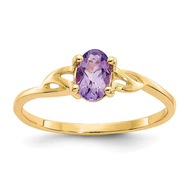 14k Yellow Gold Purple Amethyst Birthstone Band Ring Stone February Oval Fine Jewelry Gifts For Women For Her Wedding Bands IceCarats.com Designer Jewelry Gift USA