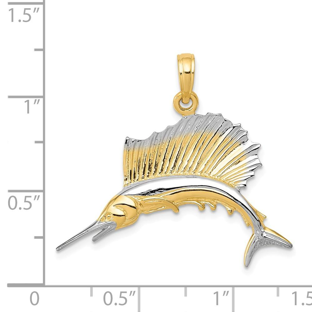 14k Yellow Gold Sailfish Pendant Charm Necklace Sea Life Fish Man Fine Jewelry Gift For Dad Mens For Him Pendant Necklaces IceCarats.com Designer Jewelry Gift USA