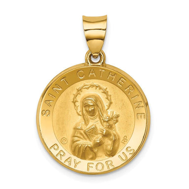 14k Yellow Gold Saint Catherine Medal Pendant Charm Necklace Religious Patron Fine Jewelry Gifts For Women For Her Pendant Necklaces IceCarats.com Designer Jewelry Gift USA