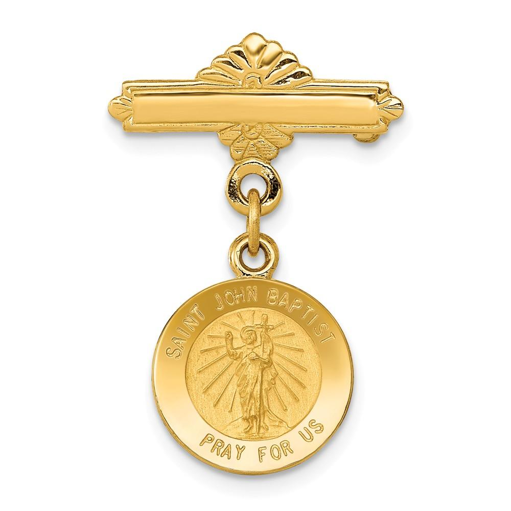 14k Yellow Gold Saint John The Baptist Medal Pendant Charm Necklace Pin Religious Patron St Fine Jewelry Gifts For Women For Her Jewelry IceCarats.com Designer Jewelry Gift USA