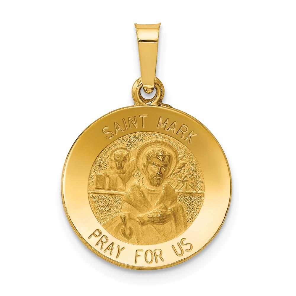 14k Yellow Gold Saint Mark Medal Pendant Charm Necklace Religious Patron St Fine Jewelry Gifts For Women For Her Pendant Necklaces IceCarats.com Designer Jewelry Gift USA