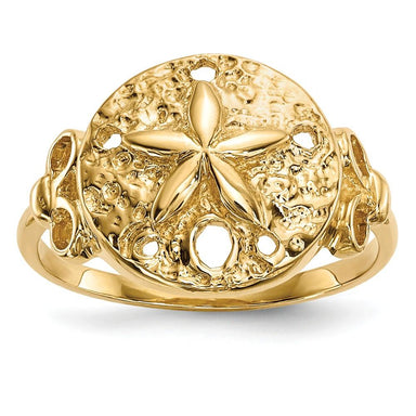 14k Yellow Gold Sand Dollar Sea Star Starfish Band Ring Animal Fine Jewelry Gifts For Women For Her Wedding Bands IceCarats.com Designer Jewelry Gift USA