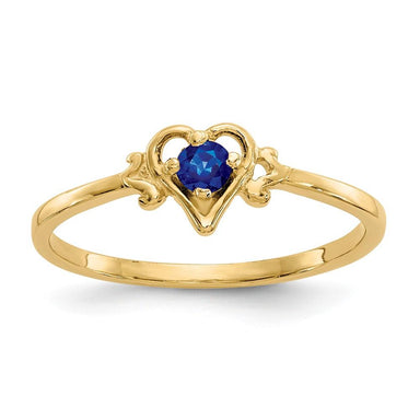 14k Yellow Gold Sapphire Birthstone Heart Band Ring S/love September Fine Jewelry Gifts For Women For Her Wedding Bands IceCarats.com Designer Jewelry Gift USA