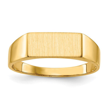14k Yellow Gold Signet Band Ring Man Fine Jewelry Gift For Dad Mens For Him Wedding Bands IceCarats.com Designer Jewelry Gift USA