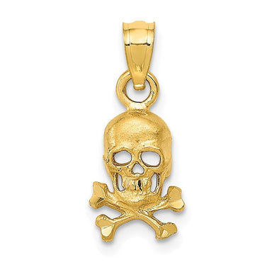 14k Yellow Gold Skull Cross Religious Bones Pendant Charm Necklace Dagger Dragon Man Fine Jewelry Gift For Dad Mens For Him Pendant Necklaces IceCarats.com Designer Jewelry Gift USA