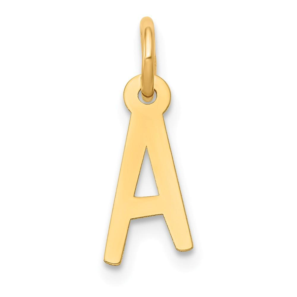 14k Yellow Gold Small Slanted Block Initial Monogram Name Letter A Pendant Charm Necklace Fine Jewelry Gifts For Women For Her Pendant Necklaces IceCarats.com Designer Jewelry Gift USA