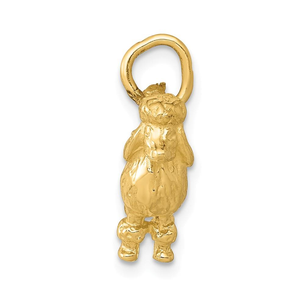 14k Yellow Gold Solid 3 Dimensional Poodle Pendant Charm Necklace Animal Dog Fine Jewelry Gifts For Women For Her Pendant Necklaces IceCarats.com Designer Jewelry Gift USA