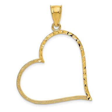 14k Yellow Gold Solid Large Reversible Heart Pendant Charm Necklace Love Fine Jewelry Gifts For Women For Her Pendant Necklaces IceCarats.com Designer Jewelry Gift USA