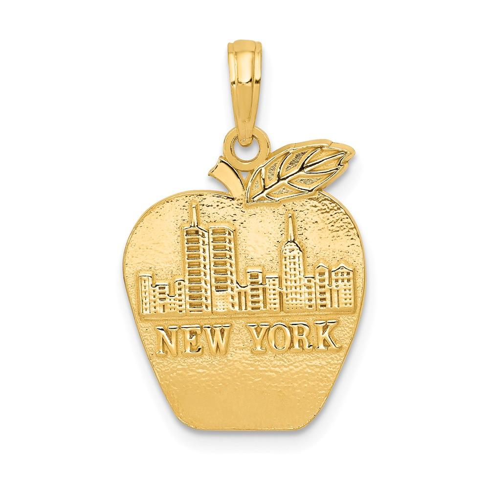 14k Yellow Gold Solid New York Skyline On Small Apple Pendant Charm Necklace Travel Transportation Fine Jewelry Gifts For Women For Her Pendant Necklaces IceCarats.com Designer Jewelry Gift USA