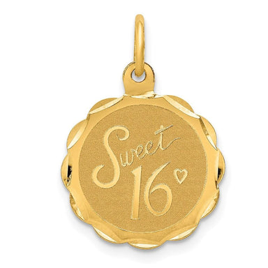 14k Yellow Gold Sweet Sixteen Girl 16 Birthday Disc Pendant Charm Necklace Special Day Fine Jewelry Gifts For Women For Her Pendant Necklaces IceCarats.com Designer Jewelry Gift USA