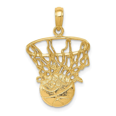 14k Yellow Gold Swoosh Basketball Net Pendant Charm Necklace Sport Man Fine Jewelry Gift For Dad Mens For Him Pendant Necklaces IceCarats.com Designer Jewelry Gift USA