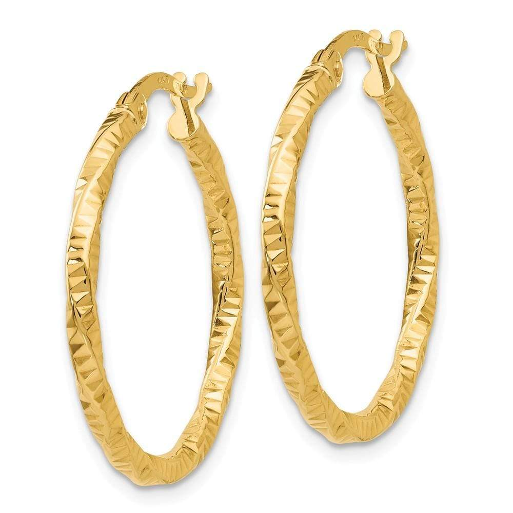 14k Yellow Gold Textured Hoop Earrings Ear Hoops Set Fine Jewelry Gifts For Women For Her Hoop Earrings IceCarats.com Designer Jewelry Gift USA
