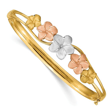 14k Yellow Gold Tri Color Plumeria Bangle Bracelet Cuff Expandable Stackable Fine Jewelry Gifts For Women For Her Bangle Bracelets IceCarats.com Designer Jewelry Gift USA
