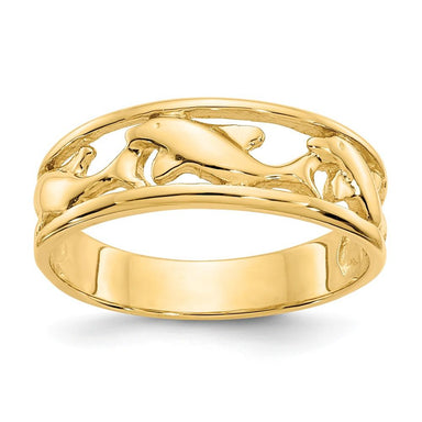 14k Yellow Gold Triple Dolphin Wedding Ring Band Animal Fine Jewelry Gifts For Women For Her Wedding Bands IceCarats.com Designer Jewelry Gift USA