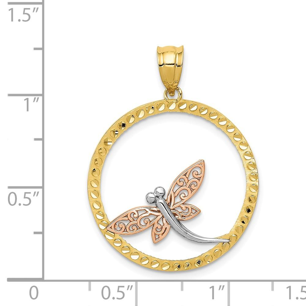 14k Yellow Rose Dragonfly Pendant Charm Necklace Insect Fine Jewelry Gifts For Women For Her Pendant Necklaces IceCarats.com Designer Jewelry Gift USA