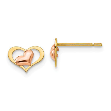 14k Yellow Rose Gold Childrens Heart Post Stud Earrings Love Fine Jewelry Gifts For Women For Her Stud Earrings IceCarats.com Designer Jewelry Gift USA