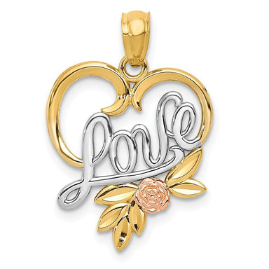 14k Yellow Rose Love In Heart Pendant Charm Necklace S/love Message Fine Jewelry Gifts For Women For Her Pendant Necklaces IceCarats.com Designer Jewelry Gift USA