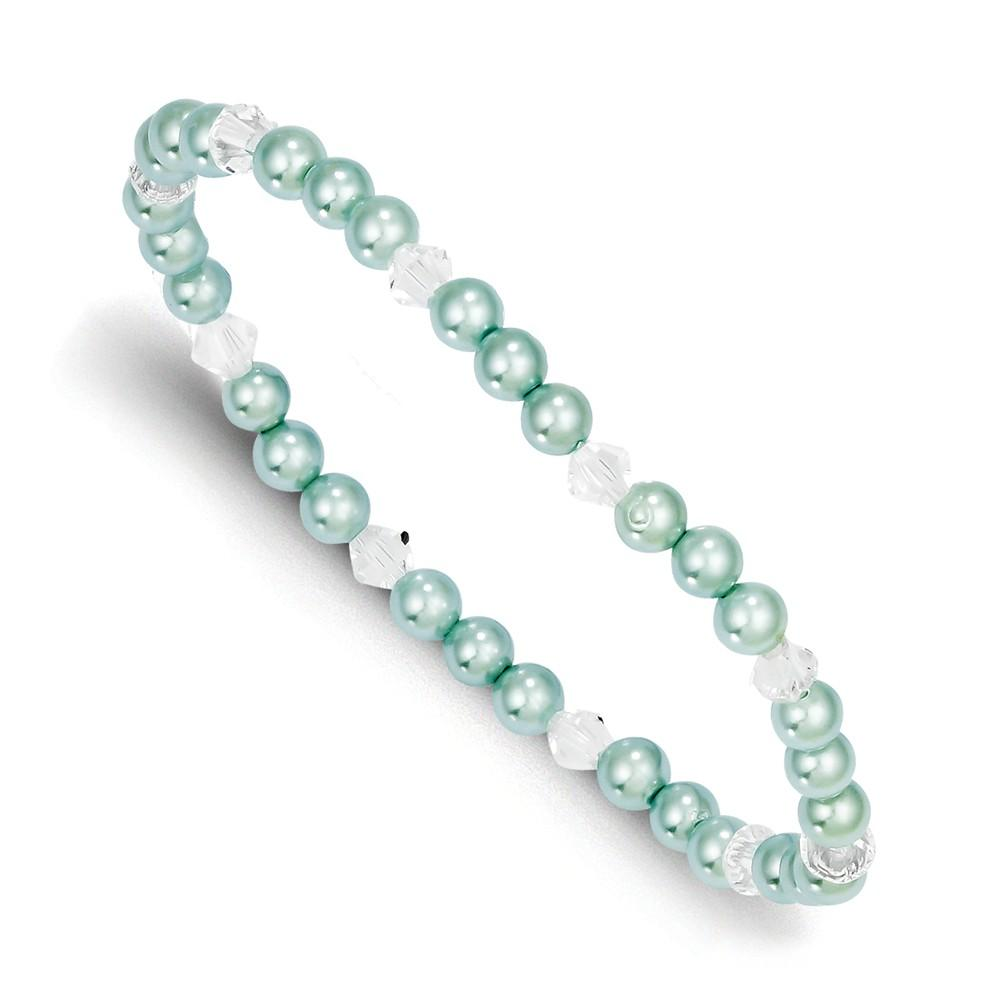 4mm Green Sea Shell Mermaid Nautical Jewelry Bead Swarovski Elements Child Stretch Bracelet Pearl Fashion Jewelry Gifts For Women For Her Stretch Bracelets IceCarats.com Designer Jewelry Gift USA