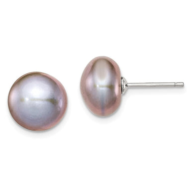 925 Sterling Silver 11mm Grey Freshwater Cultured Button Pearl Stud Earrings Ball Fine Jewelry Gifts For Women For Her Stud Earrings IceCarats.com Designer Jewelry Gift USA
